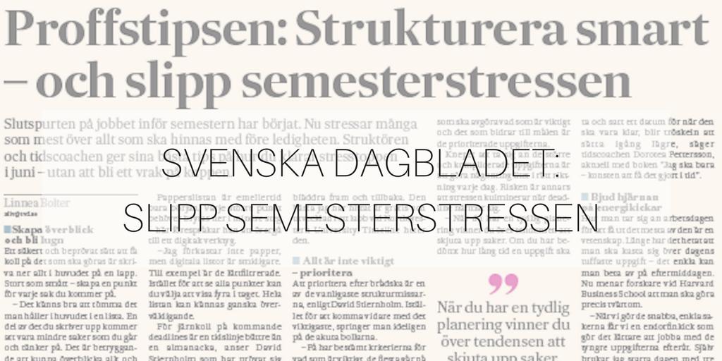 Svenska Dagbladet: Slipp semesterstressen