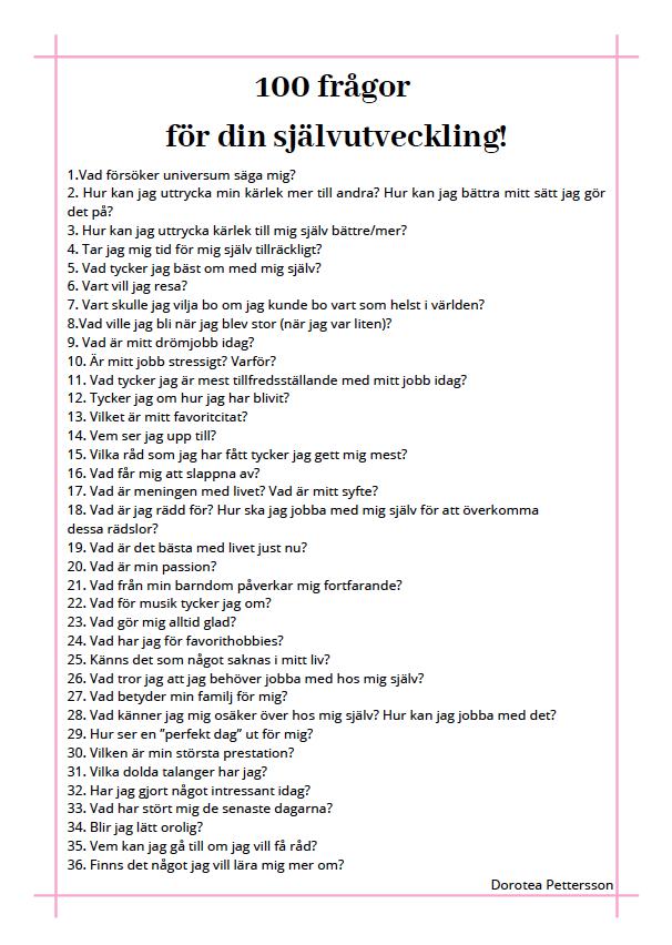 100 frågor för självutveckling